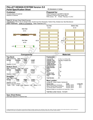 PDS Specification Sample Sheet